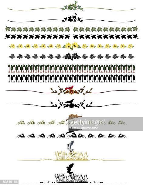 Botanical lignes décoratives Page frontières en rangées et les lignes