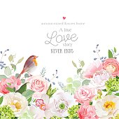 Hydrangea, rose, peony, poppy, orchid, carnation and robin bird vector design card. Botanical style frame with mixed flowers on white. Elegant floral background. All elements are isolated and editable