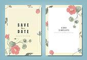 Botanical wedding invitation card template design, red Tropaeolum flowers and leaves on yellow background, minimalist vintage style