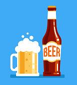 Bottle and mug of fresh tasty dark white beer. Alcohol pub holiday elements