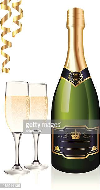 Bottle of champagne with two glasses and gold streamers