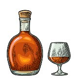 Bottle of cognac. Vintage color engraving illustration for label, poster, web, invitation to party. Isolated on white background