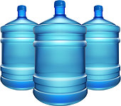 illustration of three water bottles for cooler on white background