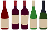 Set of wine bottle illustration in flat design.