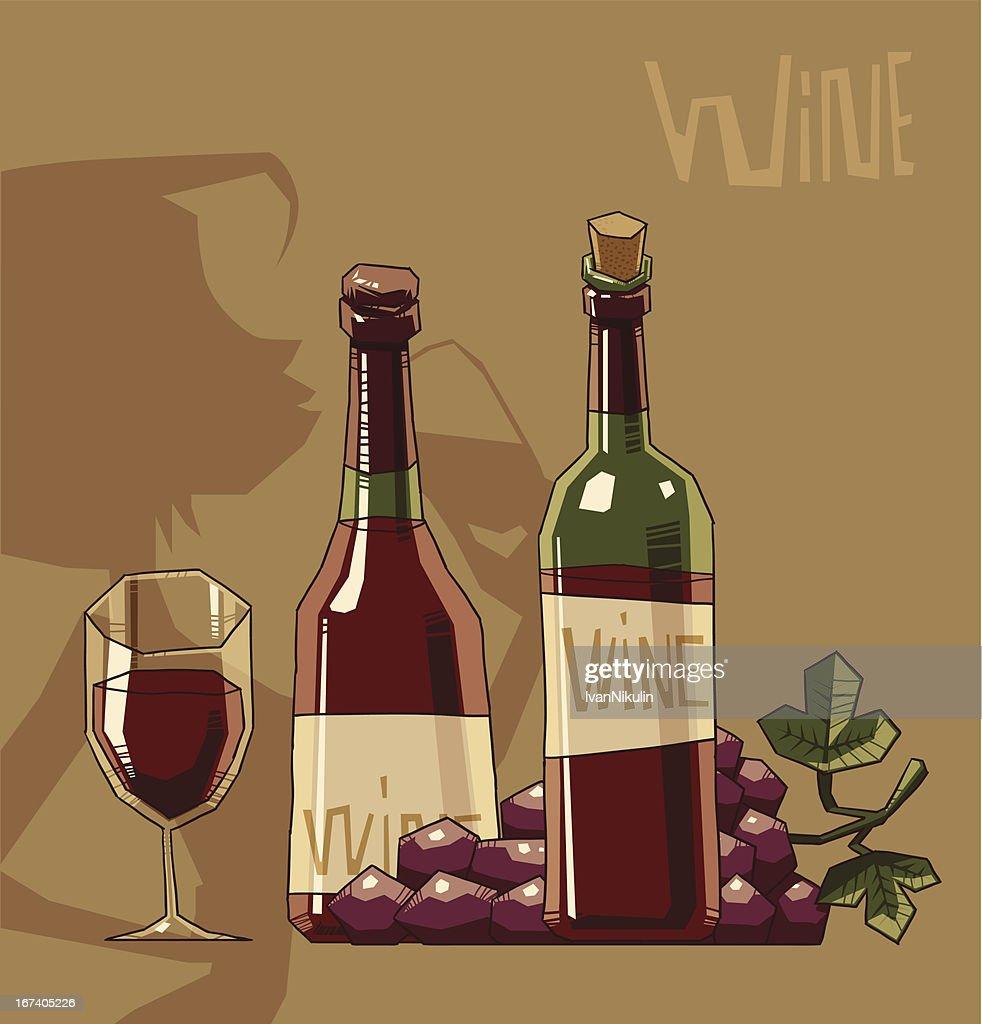 Flasche und Glas Rotwein : Vektorgrafik