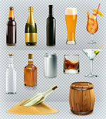 Bottles and glasses alcohol drink. 3d vector icons set