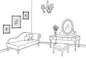 Boudoir room graphic black white interior sketch illustration vector
