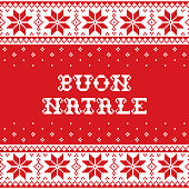 Nordic retro Xmas repetitive background in red and white with snowflakes and text, festive pixelated ornament to celebrate Christmas in Italy