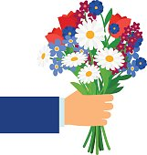 Bouquet in businessman hand isolated on white. Man holding and giving vector gift flowers daisies, tulips and cornflowers
