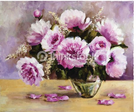 bouquet de pivoines dans un vase de verre clipart vectoriel thinkstock. Black Bedroom Furniture Sets. Home Design Ideas