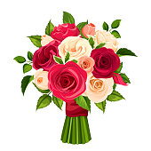 Vector bouquet of red, orange and white roses isolated on a white background.