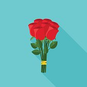 Bouquet of roses in flat style. Vector banner of red roses with long shadow.