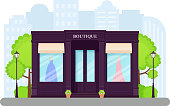 Boutique store front. Vector. Facade retail building. Vintage storefront, shop with window. Exterior house, retro street architecture. Cartoon illustration isolated in flat design.