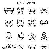 Bow & Ribbon icon set in thin line style