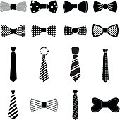 Bow tie icons set in black.