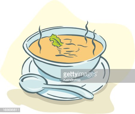 Bowl of Soup with Spoon : Vector Art