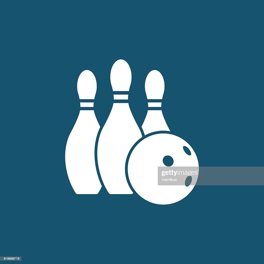Bowling ball and pins : Vector Art