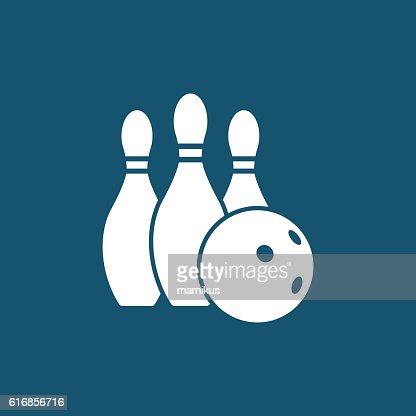 Bowling ball and pins : Vector Art