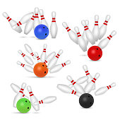 Bowling ball and skittles set. Vector realistic illustration isolated on white background.