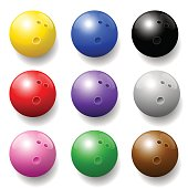 Bowling balls - nine different colors - three-dimensional.