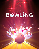 Bowling club poster with the bright background. Vector illustration