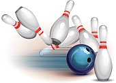 Bowling ball crashing into the pins. This eps10 illustration contains objects with transparency.