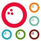 Bowling icons circle set vector isolated on white background