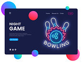 Bowling neon creative website template design. Vector illustration Bowling concept for website and mobile apps, business apps, marketing, neon banner. Night Games.