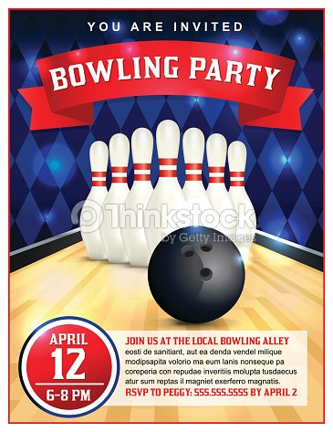 bowling party flyer template illustration vector art thinkstock. Black Bedroom Furniture Sets. Home Design Ideas