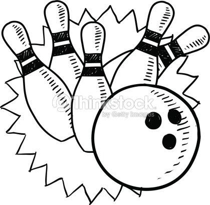 Bowling pins and ball sketch stock vector thinkstock - Bowling dessin ...