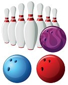 Bowling pins and balls in different colors illustration
