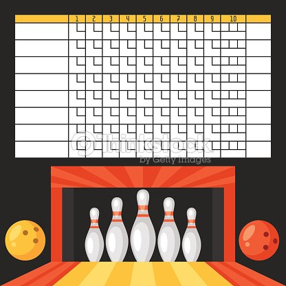 Bowling Score Sheet Blank Template Scoreboard With Objects
