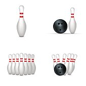 Bowling set isolated on white background. Vector illustration.