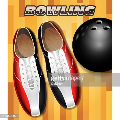 Bowling shoes and ball on bowling court parquet surface : stock vector