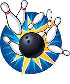 Bowling Strike Vector Illustration Cartoon.