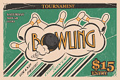 Bowling tournament invitation vintage poster. Bowling strike in retro bowling tournament poster design concept. Vector illustration.