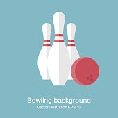Bowling. skittle and ball. abstract background. Game, entertainment, sports. vector illustration, flat style.