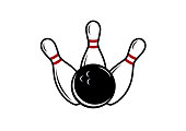 Bowling pin and bowling ball. Bowling on a white background