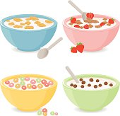 Vector illustration set of four bowls of breakfast cereal in different flavors.