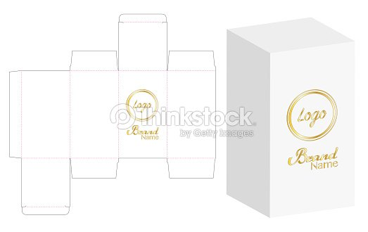 box packaging die cut template design 3d mockup vector illustration