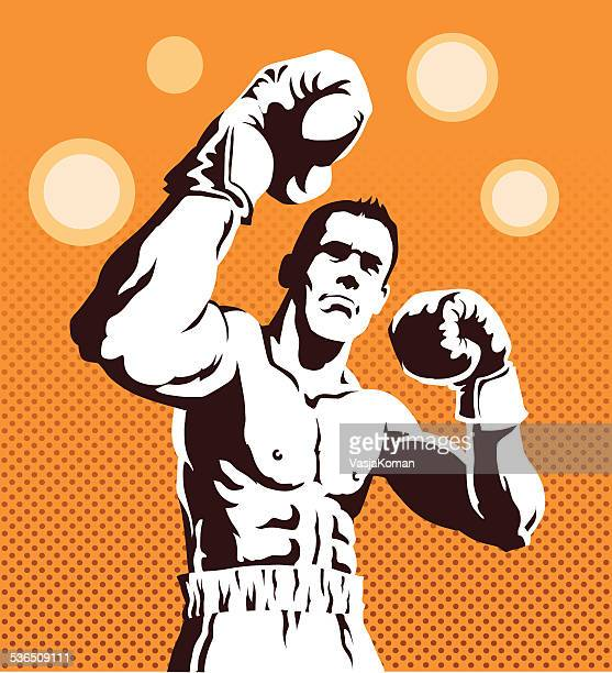 Boxer Posing on Orange Background