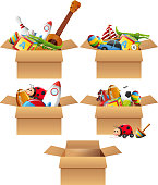 Boxes full of toys illustration