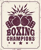 Vector vintage background for a boxing with two gloves on old paper
