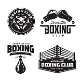 Boxing club labels emblems badges set. Boxing related design elements for prints, icons, posters. Vector vintage illustration.