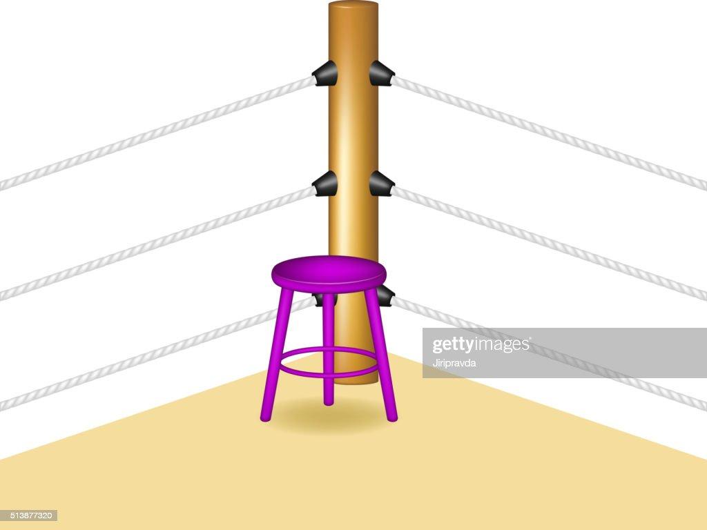 Viola boxe angolo con sgabello in legno e bianco senza compromessi