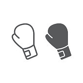 Boxing glove line and glyph icon, equipment and sport, glove sign, vector graphics, a linear pattern on a white background, eps 10.