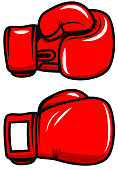 Boxing gloves isolated on white background. Design element for poster, emblem, label, badge. Vector illustration