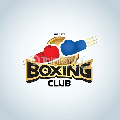 boxing logo template boxing gloves in red and blue colors vector art