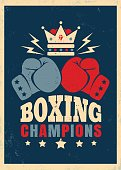 Vector vintage poster for boxing with gloves
