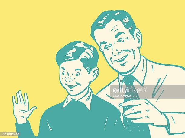Boy and Father Saying Hi